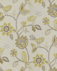 Yellow Jacobean Floral Fabric  Furl Yellowstone