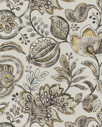 Gold Jacobean Floral Fabric  Lubber Goldenrod