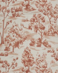 Orange French Country Toile Fabric  Arbe Toile Sienna