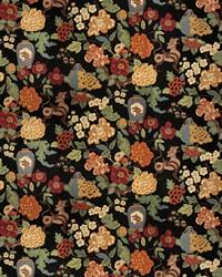 Black Jacobean Fabrics  03373 Onyx Garden