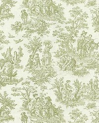 Green French Country Toile Fabric  Charmed Life Tarragon
