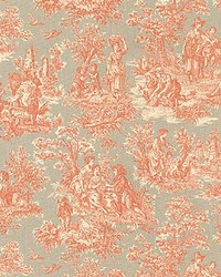 Orange French Country Toile Fabric  Charmed Life Clay