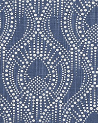 Blue Circles and Swirls Fabric  Alyssa Regal Navy Slub Canvas