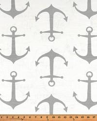Grey Boats and Sailing Fabric  Anchors Ash Slub
