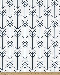 White Novelty Western Fabric  Arrow White Premier Navy Twill