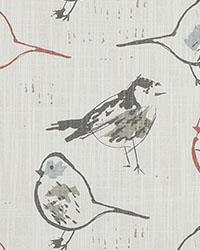 Red Bird Fabric  Bird Toile Scarlet Slub Canvas