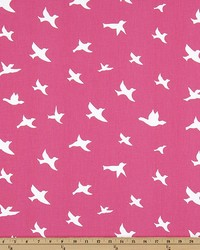 Pink Birds Fabric  Bird Silhouette Candy Pink Whi