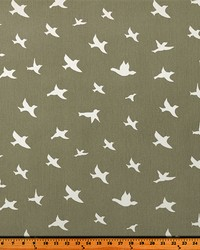 Grey Birds Fabric  Bird Silhouette Storm Twill