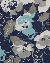 Blue Modern Floral Fabrics  Bontanic Cyan Belgian