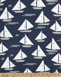Blue Boats and Sailing Fabric  Cape May Vintage Indigo