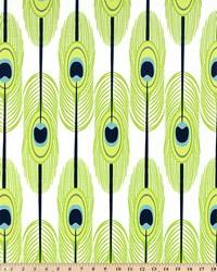 Green Birds Fabric  Feathers Canal Slub