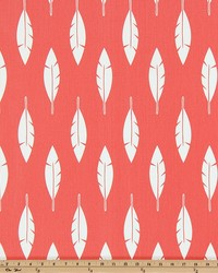Premier Prints Feather Silhouette Coral White Twill Fabric