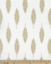 White Birds Fabric  Feather Silhouette White Athen