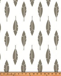 Premier Prints Feather Silhouette White Storm Twill Fabric