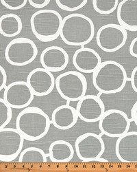 Grey Circles and Swirls Fabric  Freehand Ash Slub