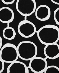 Black Circles and Swirls Fabric  Freehand Black