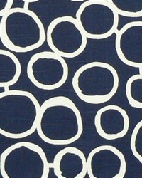 Blue Circles and Swirls Fabric  Freehand Premier Navy Slub
