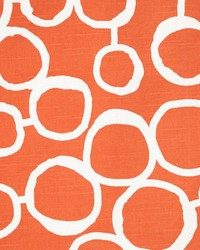 Orange Circles and Swirls Fabric  Freehand Tangelo Slub