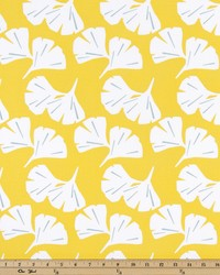 Yellow Oriental Fabric  Ginkgo Mimosa