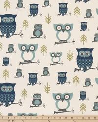 Blue Birds Fabric  Hooty Felix Natural