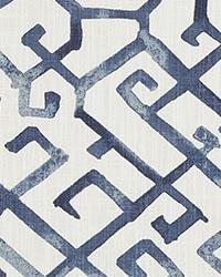 Blue Oriental Fabric  Jing Regal Blue Slub Canvas