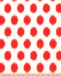 Red Circles and Swirls Fabric  Jo Jo Lava Slub