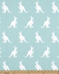 White Elephants and Other Exotic Animals Fabric  Kangaroo Canal White Twill