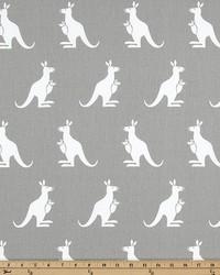 White Elephants and Other Exotic Animals Fabric  Kangaroo Storm White Twill