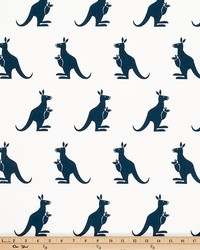 Blue Jungle Safari Fabric  Kangaroo White Premier Navy Twill