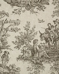 Blue French Country Toile Fabric  Colonial Black Linen