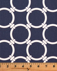 Blue Circles and Swirls Fabric  Linked Blue White