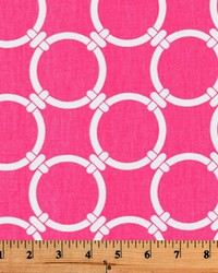 Pink Circles and Swirls Fabric  Linked Candy Pink
