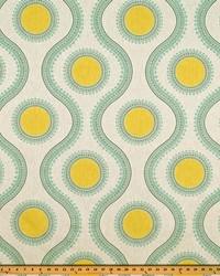 Green Circles and Swirls Fabric  Susette Collins Laken