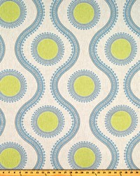 Blue Circles and Swirls Fabric  Susette Florence Laken