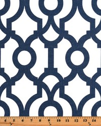 Blue Trellis Diamond Fabric  Lyon Premier Navy