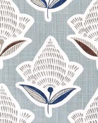 Blue Modern Floral Fabrics  Makoto Regal Blue Slub Canvas