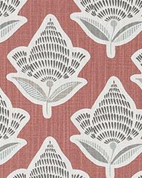 Red Modern Floral Fabrics  Makoto Scarlet Slub Canvas