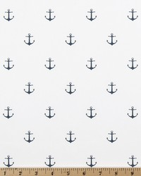 White Boats and Sailing Fabric  Mini Anchor White Premier Navy