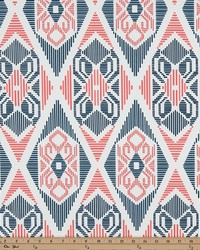 Orange Navajo Print Fabric  Munsee Premier Navy Coral Twill