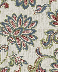 Green Jacobean Floral Fabric  ODT Grove Viridian Luxe Polyes