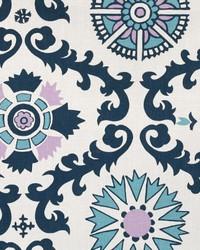 Blue Suzani Fabric  Rosa Berries Drew