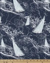 Blue Boats and Sailing Fabric  Sail Away Vintage Indigo