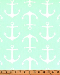Green Boats and Sailing Fabric  Sailor Mint Twill