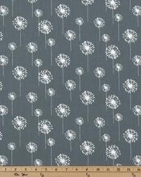 Grey Small Print Floral Fabric  Small Dandelion Gunmetal Twill