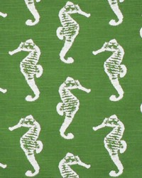 Green Marine Life Fabric  Sea Horse Coastal Green Slub