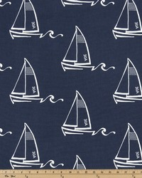 Green Boats and Sailing Fabric  Seaton Vintage Indigo