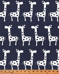 Blue Jungle Safari Fabric  Stretch Blue White