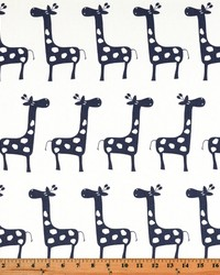 White Elephants and Other Exotic Animals Fabric  Stretch White Blue