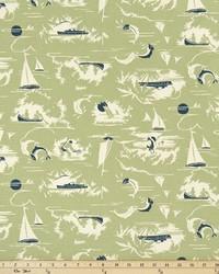 Green Boats and Sailing Fabric  The Bay Formica Green Natural
