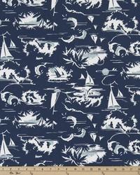 Blue Boats and Sailing Fabric  The Bay Vintage Indigo
